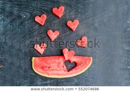 Kawałek arbuz serca starych przestrzeni Zdjęcia stock © galitskaya