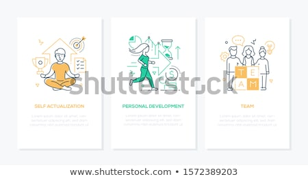 self management skills   line design style banners set stock photo © decorwithme