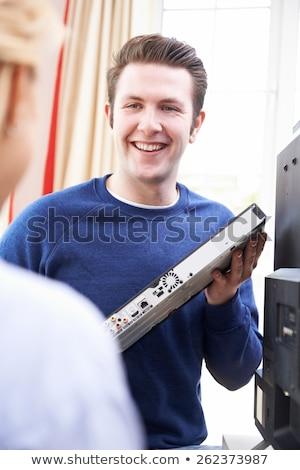 Telewizji inżynier nowego domu kabel Zdjęcia stock © HighwayStarz