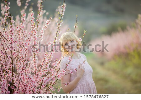 A woman in a pink short dress walks in nature surrounded by flowering trees Stock photo © ElenaBatkova