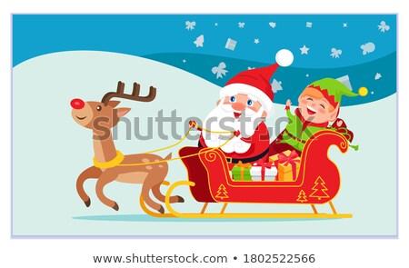 Vidám karácsony mikulás manó lovaglás fuvar Stock fotó © robuart