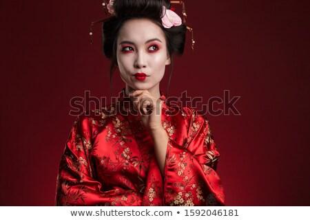 Imagem jovem gueixa mulher japonês quimono Foto stock © deandrobot