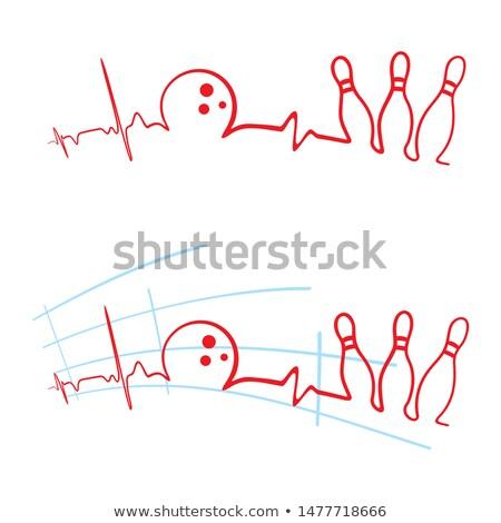 Ekg bowling klub szívverés kardiogram bowling golyó Stock fotó © oxygen64