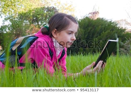 muchacha · adolescente · electrónico · libro · hierba · naturaleza - foto stock © AndreyKr