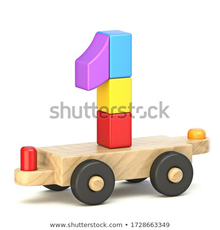 Wooden train Number 1 ONE 3D Stock photo © djmilic