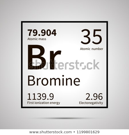 Bromine chemical element with first ionization energy, atomic mass and electronegativity values ,sim Stock photo © evgeny89