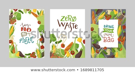 Set of fresh vegetables in a reusable bag in the hands of a young woman. Zero waste concept Stock photo © galitskaya