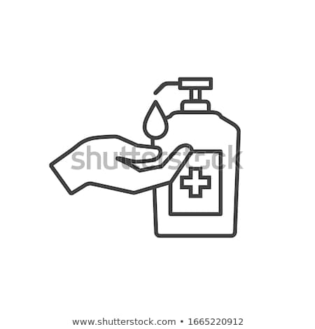 Bottle of antibacterial liquid soap and hand sanitizer on beige background, hygiene product and heal Stock photo © Anneleven