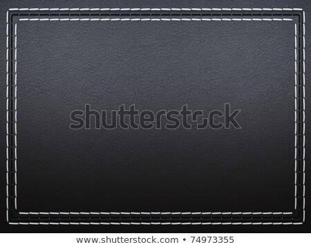 Stitched Frame On Black Leather Background Stok fotoğraf © Arsgera
