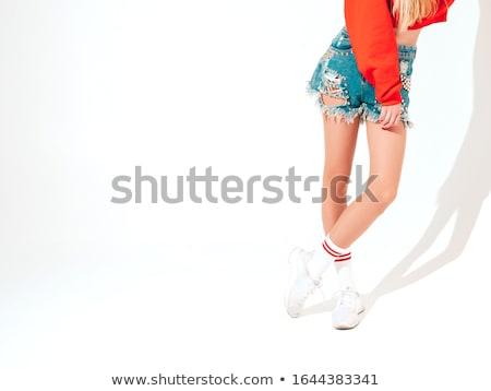 szexi · nő · pózol · egy · láb · magas · karcsú - stock fotó © stryjek