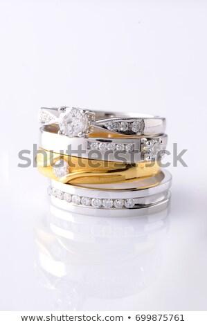 közelkép · platina · gyűrű · fém · ékszerek · ékszer - stock fotó © hitdelight