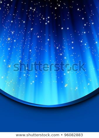 ストックフォト: 雪 · 星 · 青 · eps · パス · 光