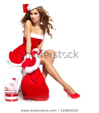 beautiful smiling woman in santa claus clothes portrait stock photo © elmiko