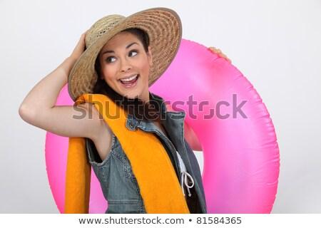 восторженный девушки готовый пляж лице морем Сток-фото © photography33