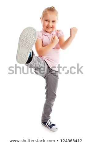Meisje kick voet schoonheid springen Stockfoto © jirkaejc