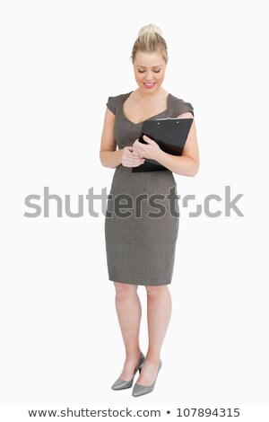 Empresária olhando bloco de notas mãos branco feliz Foto stock © wavebreak_media
