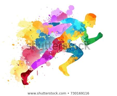 colorido · acrílico · pintar · agitar-se · brilhante · branco - foto stock © leeser