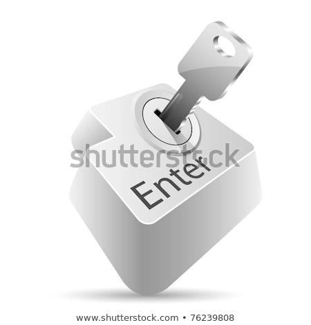 Archívum belépés kulcs gomb fehér üzlet Stock fotó © REDPIXEL