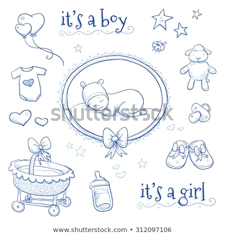 bebek · duyuru · kart · süt · şişe · emzik - stok fotoğraf © balasoiu