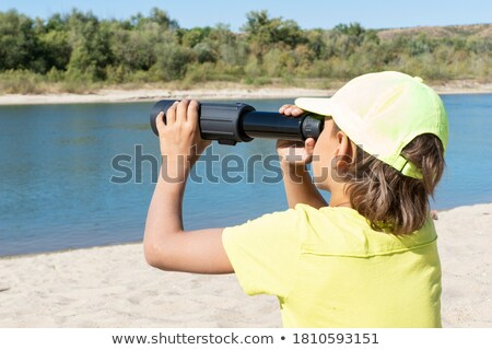 Chłopca teleskop dziecko tle Zdjęcia stock © zzve