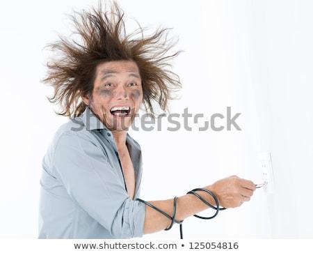 Villanyszerelő elektromos rázkódás arc fekete villám Stock fotó © photography33