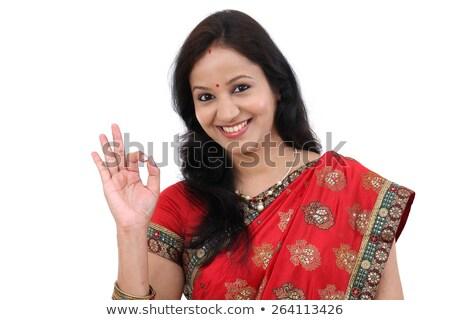 улыбающаяся · женщина · хорошо · знак · улыбаясь · привлекательный - Сток-фото © fantasticrabbit