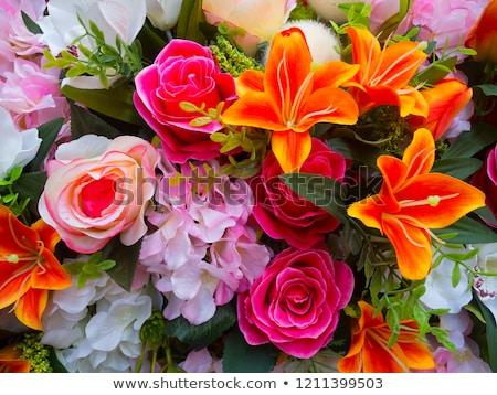 Piros virágmintás dekoráció virágok mesterséges virág Stock fotó © natika e95e2ac3c0