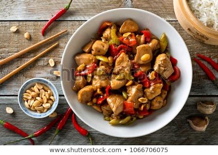 tavuk · Çin · sebze · gıda · yeşil · kırmızı - stok fotoğraf © tarczas