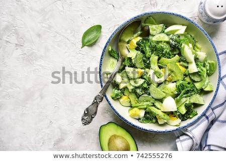 avokádó · saláta · aszalt · méz · mustár · öntet - stock fotó © m-studio