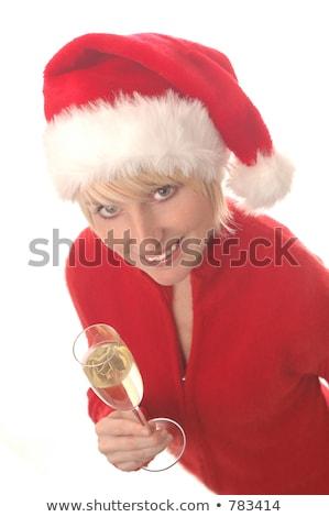 Święty · mikołaj · szampana · butelki · okulary · kobieta - zdjęcia stock © elisanth