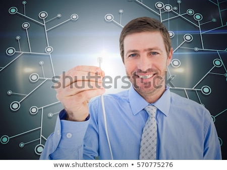 Geschäftsmann halten Kabel weiß Technologie Corporate Stock foto © wavebreak_media