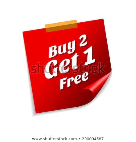 Buy 2 get 1 free Red Sticky Notes Vector Icon Stock photo © rizwanali3d