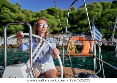 feliz · mulher · condução · veleiro · alegre · sorrindo - foto stock © Anna_Om