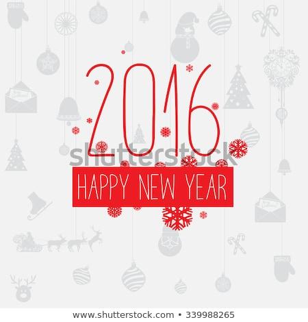вектора современных простой с Новым годом карт 2016 Сток-фото © orson
