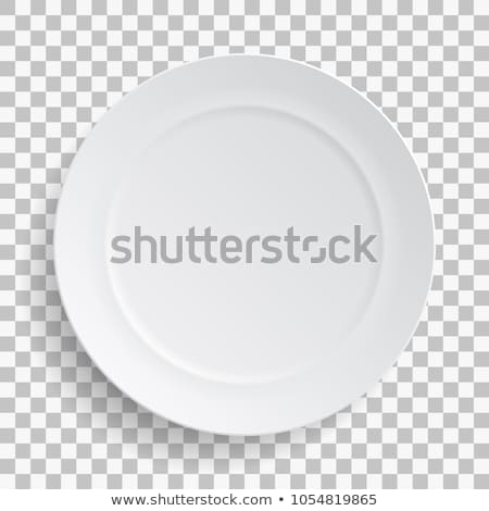 Porcelán tányér felső kilátás izolált fehér Stock fotó © konturvid