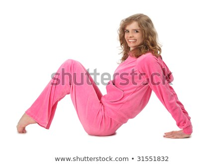 Girl in pink clothes represents  letter m stock photo © Paha_L