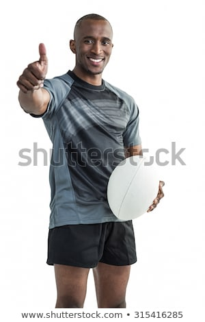 rugby player looking at camera with hand up stock photo © wavebreak_media