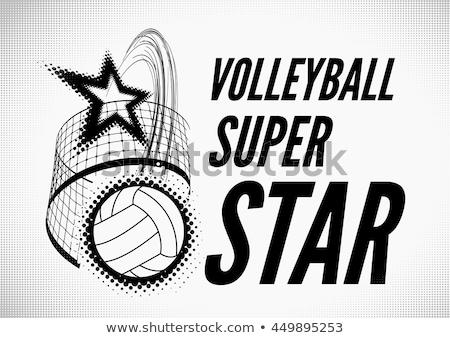 Volleybal super star ontwerp badge logo Stockfoto © m_pavlov