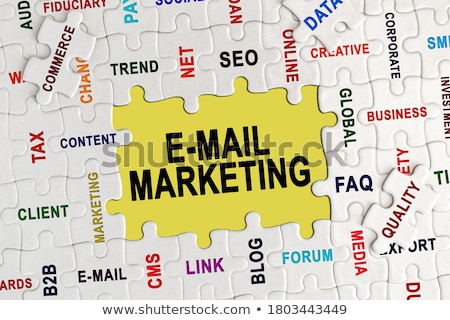 Puzzle szó email marketing kirakó darabok internet Stock fotó © fuzzbones0
