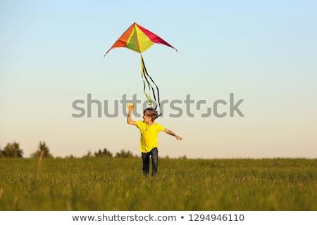 Boy Flying Kite Stock photo © FOTOYOU