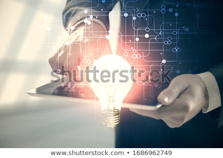 man hands using compass to draw a graph stock photo © deandrobot