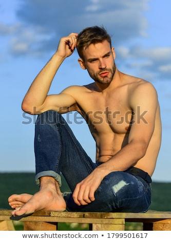 Encajar joven hermosa torso azul fitness Foto stock © master1305