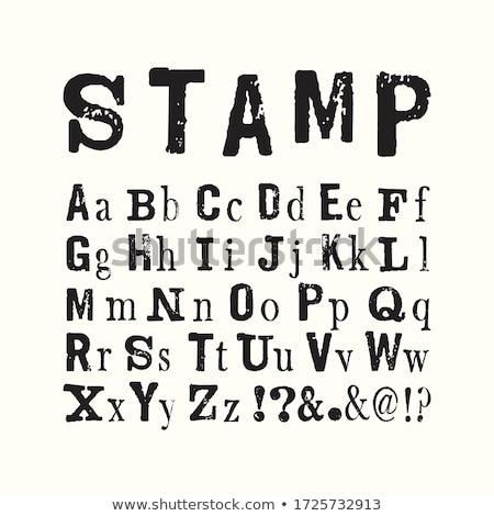 handgemaakt · retro · doopvont · zwarte · brieven · witte - stockfoto © pashabo