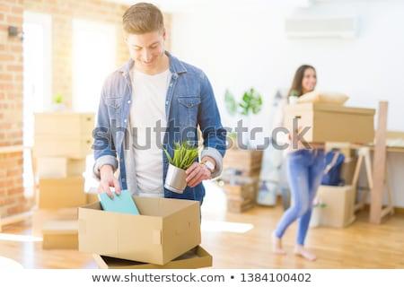 lächelnd · Geschäftsfrau · halten · Karton · Boxen · Business - stock foto © is2
