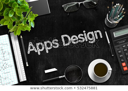 App Concept on Black Chalkboard. 3D Rendering. Stock photo © tashatuvango