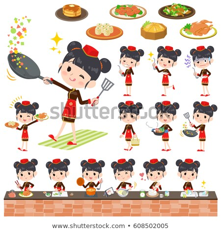 Chinese ethnic clothing woman cooking Stock photo © toyotoyo