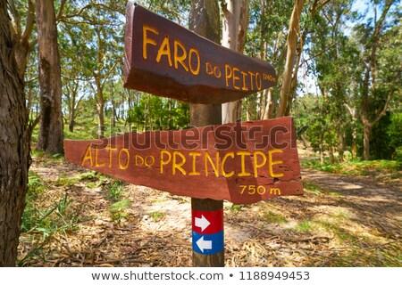 faro peito sign to lighthouse in islas cies spain stock photo © lunamarina