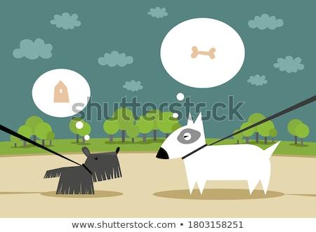 Cartoon correa ilustración caminando boca perro Foto stock © cthoman