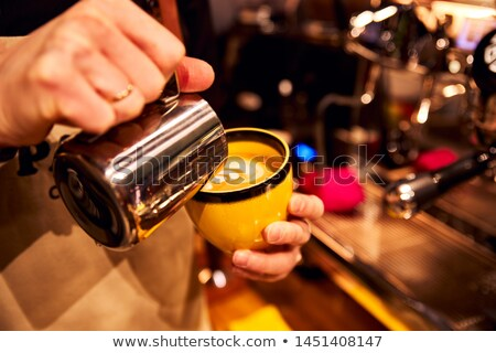 Metaal koffiezetapparaat patroon koffiebonen vorm cirkel Stockfoto © artjazz