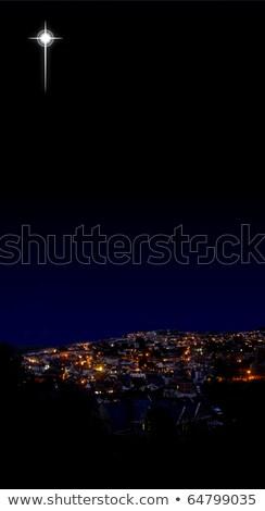 silhouette · Noël · village · église · maison · vert - photo stock © liolle